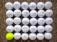 30 Callaway golf balls very good condition, cxr power, warbird plus, supersoft, hex black