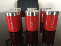 Beautiful 6x Red Spice Jars / Cans Contemporary - Unused!