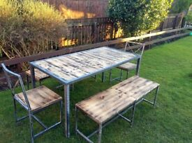 Handmade industrial Style Steel & Reclaimed Wood Dining Set - Table & Two Benches and Two chairs