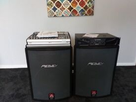 Passive speakers with stands, mixer amp and amp