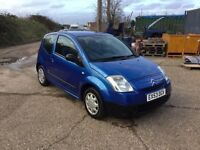 2003 CITREON c2 in vgcondition drives like new in sporty blue and trim 1 years mot CD any trial wel