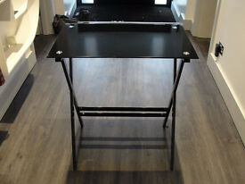 Black glass table/ desk. Free delivery in Leicester. Saving space.