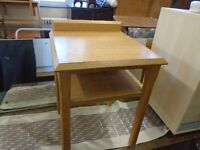 small pine look bedside table.