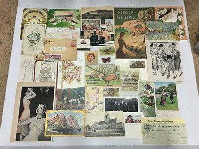 Large Ephemera Lot Vintage postcards cigarette cards vtg ads Old Envelope stamps