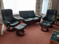 Stressless Sofa, 2 chairs and footstools for sale