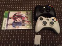 Two Xbox 360 Wireless Controllers & Xbox360 FIFA 2015 Game Excellent Condition Rechargeable Adapter