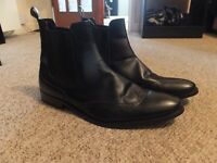 Mens Red Tape Black Leather Brogue Chelsea Boots