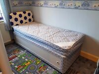 Child Size Single Divan Bed with Headboard and Mattress