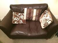Small Marks and Spencer's Brown Real Leather Sofa/Loveseat