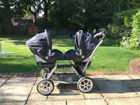 Mamas and Papas twin pram travel system with interchanging car seats, car seat bases and accessories