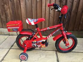 "Boys 12"" bike red fire chief exc condition"