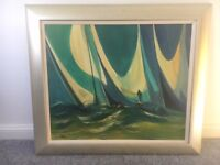 Painting picture in frame of green/blue boats sailing