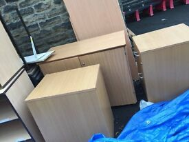 USED SCHOOL FURNITURE -4 TABLES AND 4 CUPBOARDS PLUS VARIOUS OTHER ITEMS