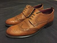 River Island Brown Leather Brogues - Size 10