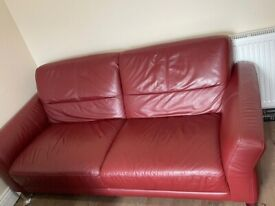 Large leather sofa seat and single sofa seat