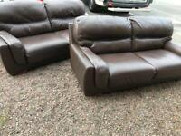 ~ Large 2 & 2 ~ full leather sofas set Suite