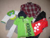 Boys clothes 10 to 12, smart shirt,2 T shirts, Pyjama's, waterproof trousers, Hi Vis vest.