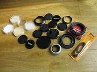 Job lot, lens caps/hoods/filter keepers etc.