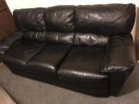 🍁 3 & 2 Black Dfs full leather sofas suite