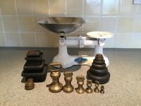 Kitchen balance scales, together with both imperial and metric weights (some of which are brass)