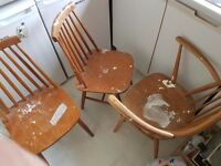 FREE - need uplifted - 3 wooden chairs - destined for The Dump