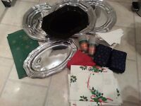 Christmas Party Tableware (9 Platters, 16 Cups, 100 Serviettes, 16 Table Cloths)