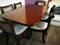 Oak Dining table 8 chairs with extendable piece