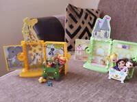 2 sets with pull out houses and dolls