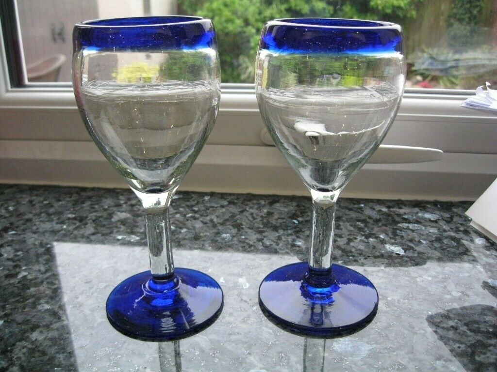 Wine Glass Hand Blown from Recycled Glass Ethically Sourced from Mexico