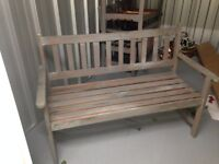 Two seater wooden bench for sale, has been painted, lightly used