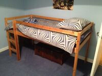 Pine framed single child's cabin/sleeper bed and mattress