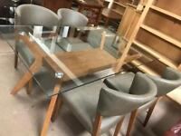 Glass table £250 chairs £60 each