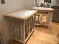 X 2 MATCHING BREAKFAST BARS WITH STOOLS GREAT LOOKING FUNCTIONAL ITEMS FREE LOCAL DELIVERY