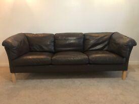 Danish vintage Borge Mogensen style 1970's three-seater brown leather sofa
