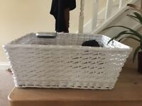 Woven wicker basket white. Large and wonderful and in new condition