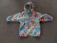 GIRLS WATERPROOF CAGOULE - floral pattern - AGE 3/4 YEARS