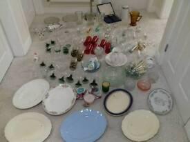Job Lot Of Vintage Retro Gl Crystal Pottery
