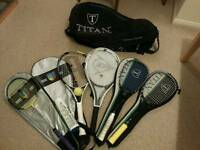 Collection of racket sport equipment