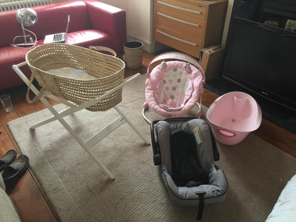 Baby bath. Moses basket with stand and car seat and baby chair