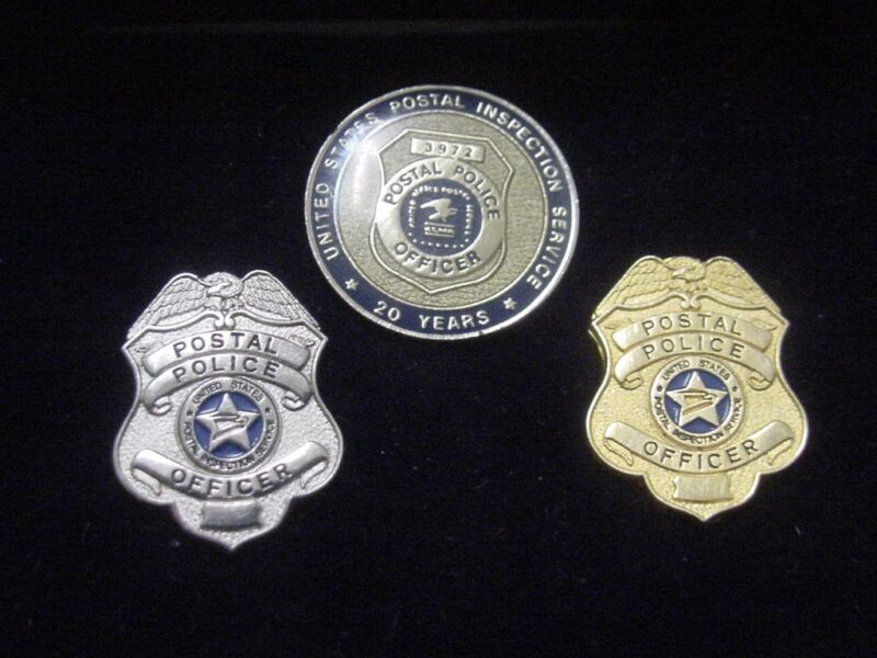 vintage united states postal police officer 2 lapel pin + lapel pin 20years serv
