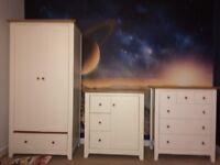 Kids nursery furniture, includes, wardrobe, 2 sets drawers & cot/junior bed.