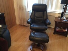 Swivel leather chair and stool