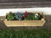 Rustic wooden planters