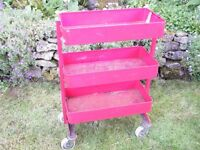 Sturdy steel 3 tiered wheeled trolley. Many uses, ideal for garage or workshop.