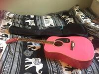 Pink acoustic Westfield guitar and case for sale in Brighton!