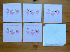 5 Flamingo Christmas Cards