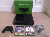 BOXED XBOX One 500GB with Original Controller Unused Headset & 2 Games (Saints Row 4, Evil Within)..