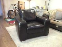 Single seater brown leather sofa