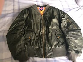 Khaki green bomber jacket, size large from misguided, only worn once
