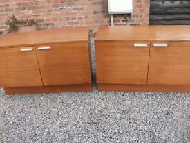 TWO MATCHING SOLID TEAK SIDEBOARD CUPBOARDS BY LIVING MEMORY